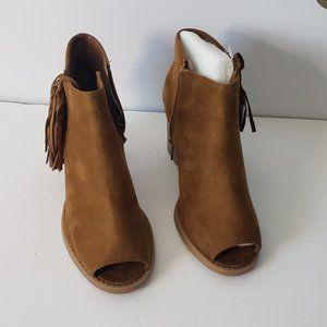 Shiekh Open Toe Zip Fringe Ankle Suede Booties 9